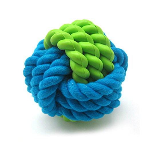 Artikelbild: SymbolLife Hunde Baumwoll-Seil / Rubber Ball Haustiere Smarter Interactive IQ Futterball kauen Hundespielzeug Hund Katze Kauspielzeug - Dia 3-1/4in Hundespielzeug