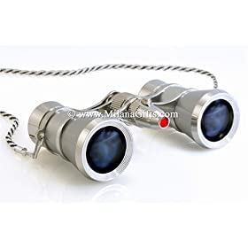 Milana Optics - Opera Glasses - Renaissance - With Chain and Flashlight - Platinum Finish with Silver Rings