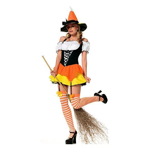 Hot Babes in Candy Corn Witch - Womens Sexy Witch Halloween Costumes Lingerie Outfit