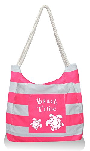 Pier 17 Mariner Canvas Beach Bag Tote For Beach And Travel. 100% SATISFACTION GUARANTEED ( Pink with Turtle Print ) (Beach Tote With Wheels compare prices)