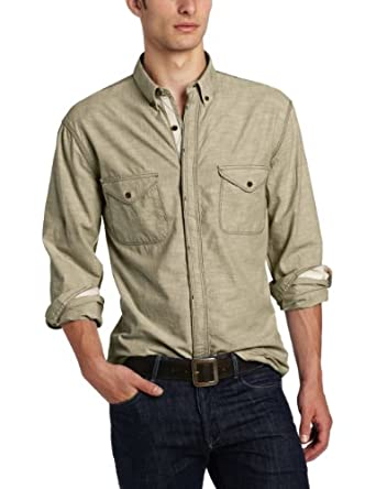 French Connection Men's Deadfall Denim Long Sleeve Shirt, Beech, Medium