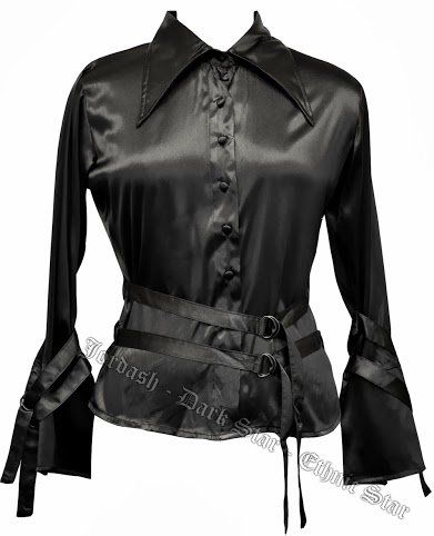 Dark Star Satin Blouse/Shirt with Straps-detail DS/BL/7246 (Black, SM/size 10 12 14*)