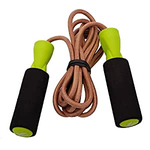 New 2.6m JOINFIT Bold Leather Speed Skipping Jump Rope For Gym Training Exercise Black & Green