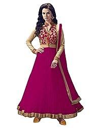 OMSAI FASHION Women's rani net Embroidery semi stitched Free Size Salwar Suit (Women's rani Indian Clothing )