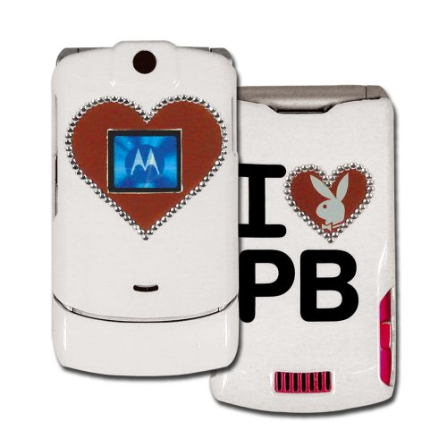 Licensed White Playboy Snap-On for V3 with Glittered Red Heart Bunny Outlined in Rhinestones and Red Heart in the Front (Playboy Bunny Phone Accessories compare prices)