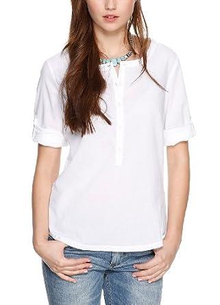 s.Oliver Damen Regular Fit Bluse 14.404.19.4863, Gr. 38, Weiß (white 0100)