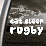 EAT SLEEP Rugby White Sticker Decal Art Laptop Bumper Notebook White Sticker Decal