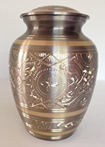 PLATINUM AND GOLD ENGRAVED FUNERAL CREMATION URN, PET OR HUMAN URNS