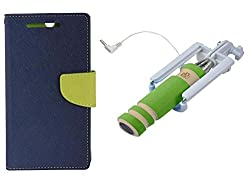 Novo Style Book Style Folio Wallet Case Micromax Canvas Selfie Lens Q345 Blue + Wired Selfie Stick No Battery Charging Premium Sturdy Design Best Pocket Sized Selfie Stick