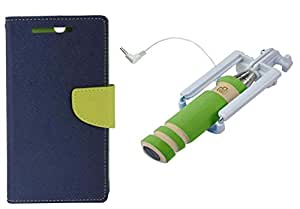 Novo Style Wallet Case Cover For Samsung Galaxy S4 I9500 Blue + Wired Selfie Stick No Battery Charging Premium Sturdy Design Best Pocket Sized Selfie Stick