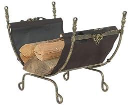 Antique Gold Cast Aluminum Log Holder w/Carrier