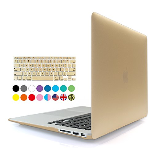 iBenzer - 2 in 1 Soft-Touch Series Plastic Hard Case Cover & Keyboard Cover for 11 inches Macbook Air 11.6'' (Model: A1370 / A1465), Gold MMA11GD+1