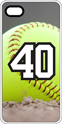 iPhone 5c Case Softball Dirt Mound Any Custom Jersey Number 40 White Rubber (Iphone 5c Case Softball Pitcher compare prices)