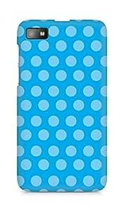 AMEZ designer printed 3d premium high quality back case cover for BlackBerry Z10 (blue polka dots)