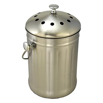 Brushed Stainless Steel Compost Pail & Indoor Kitchen Scrap Collection Bin
