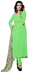 Dress Material Georgette Parrot Green Embroidered + Lace Unstitched