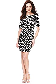 Petite Geometric Tile Print Pleated Dress