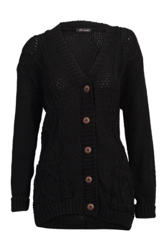 52I Womens Black Casual Chunky Knitted Aran Button Up Ladies Cardigan Size 12/14