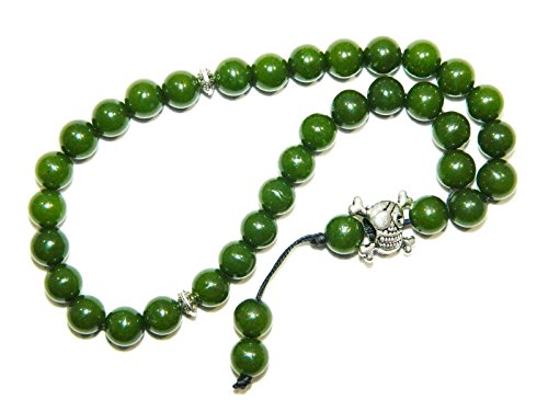 E1-0080 - Greek Style Loose Strung Prayer Beads Green Jade Gemstone Handmade