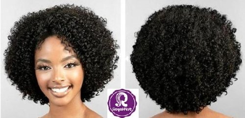 Top quality! Royal-first Poduct 12inch Short Brazilian Virgin Hair Afro Curly Full Lace Wig for Women 100% Human Hair Wigs with Bleached Knots by Haoxin