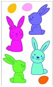 "Easter Decorations: Reusable Window Gel Clings, 6"" x 12"" - Bright Colored Easter Bunnies and Eggs by Impact Innovations"