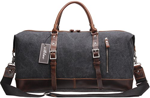 Iblue Genuine Leather Trim Travel Tote Duffel
