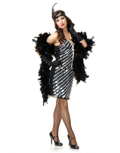 Womens Sexy Black Roaring 20s Circle Sequin Flapper Costume Dress