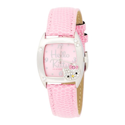 Hello Kitty Kids' HK1260 Silver Case Molded Gem Head Accent Pink Strap Analogue Watch