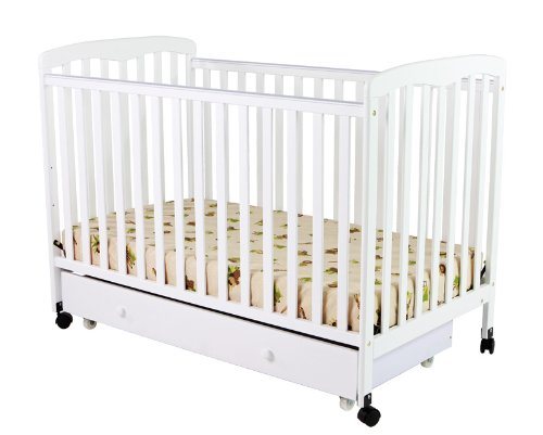 Dream On Me Brianna Convertible Crib with Roll Away Trundle Drawer, White - 1