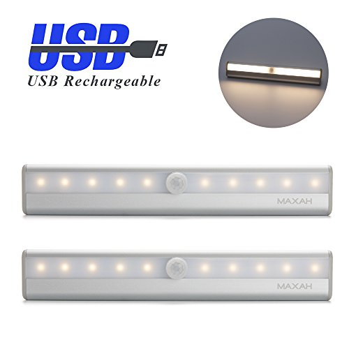 MAXAH-2x-USB-Sensor-Innenbeleuchtung-Sensor-Lampe-10-LED-PIR-Automatische-LED-Lichtleiste-Bewegungsmelder-Kabellose-Infrarot-Lichterfassung-fr-Schrank-Cabinet-Schrankschublade-Schrank-Treppe-Nachtlich