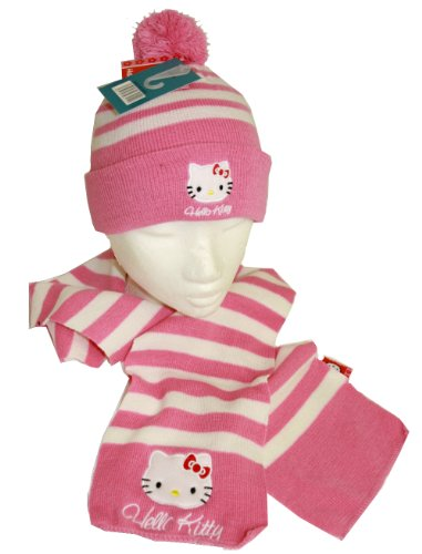 HELLO KITTY striped Beanie and Scarf - rose/white