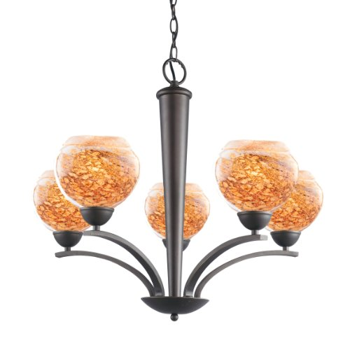 Woodbridge Lighting 13015MEB-BAL202 North Bay 5-Light Chandelier, 26-1/-2-Inch by 23-1/2-Inch, Metallic Bronze