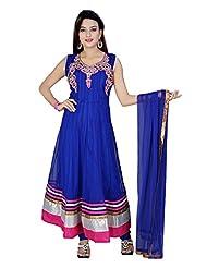 Divinee Blue Net Readymade Anarkali Suit