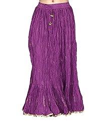 Chhipa Women Gold Print Skirt Purple Full Length
