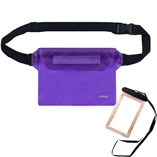 Waterproof Pouches - Dry Bags With Waist Strap For Beach Swimming Boating Kayaking Fishing Hiking - Bundled With Phone Case-Purple (70 Liter Container compare prices)