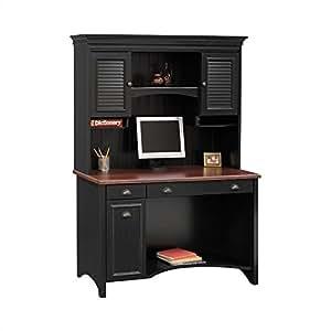Bush Furniture Stanford Wood Computer Desk With Hutch in Black