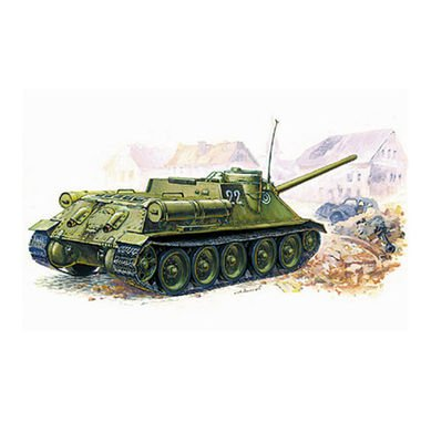 3531 Zvezda 1:35 Moderner Russischer Jagdpanzer SU-100, WWII, Plastik - Modellba