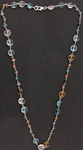 Gemstone Necklace (Rose Quartz, Blue Topaz, Citrine and Orange Quartz - Sterling Silver