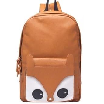 Finejo Women's Fox Backpack Shoulder Bag Owl Satchel Brown
