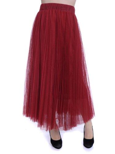 Anna-Kaci S/M Fit Knife Pleat Multi-Layer Net Tulle Overlay Maxi Skirt