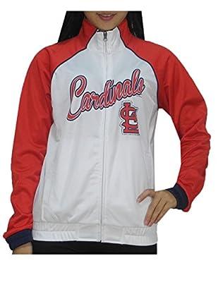 MLB ST. LOUIS CARDINALS Womens Zip-Up Warm Glitter Track Jacket