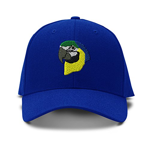 [Parrot Head Embroidery Embroidered Adjustable Hat Baseball Cap Royal Blue] (Parrot Head Hat)