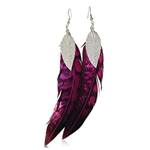 Fuchsia & Black Dangle Feather Earrings Leaf Accent, 6 Inches Long