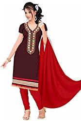 Aastha Creation Brown Cotton Embroidered Dress materials