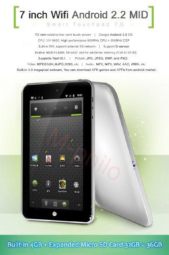41B3ywTwlHL iRulu® Brand 7 Knightpad Android 2.2 OS Resistive Touchscreen Tablet PC Google 3G WiFi Mobile Internet Device (MID) 4GB capactiy (Silver color)