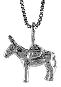 Sterling Silver Small Pack Mule Pendant, 1/2 inch Tall