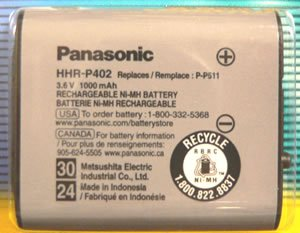 Panasonic HHR-P402A/1B NiMH Rechargeable Cordless Telephone Battery, Replaced PP-511 PP-511A PP-511A/1B (HHR P402A/1B HHRP402A1B HHR-P402A HHRP402A HHR-P402 HHRP402 P402A P402 PP511 PP511A PP511A1B) - For use with Panasonic models TG5100, TG5110, TGA510, TG2205, TG2215, TG2217, TG2219, TG2227, TG2236, TG2237, TG 2239, TG2247, TG2257, TG2267, TG2700, TG2720, TG2730, TG2740, TG2750, TG2770, TG2970, TGA270, TGA273, TGA290 (Panasonic Hhr P402 compare prices)