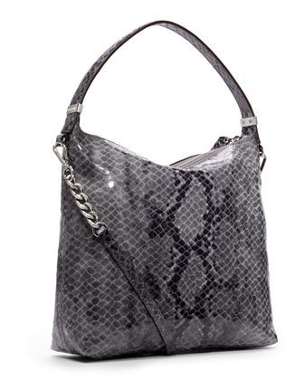 MICHAEL Michael Kors Michael Kors Weston MD Shoulder Dark Slate Python Leather Handbag