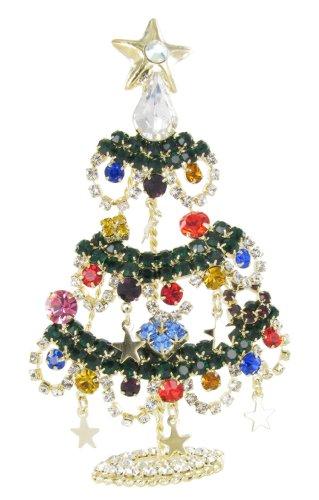 Star Ornaments Christmas Tree Rhinestone Fashion Brooch Pin - Multicolored Crystals, Dangling Stars