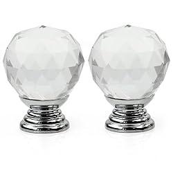2pcs Clear Crystal Cabinet Drawer Knob Kitchen Handle Door Wardrobe Hardware New